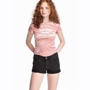 H&M Young and Fearless Pink Crushed Velvet crop Top medium Y2K